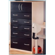 Kids Stuff White Tall 5 Drawer Chest with Top Cupboard