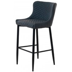 Chairs Ottowa Stool Grey PU with Black Metal Legs