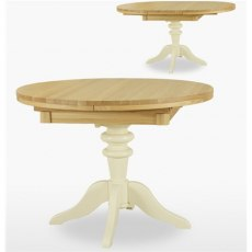 Coelo Dining Express Round Extending Table in Lacq/Oyster White