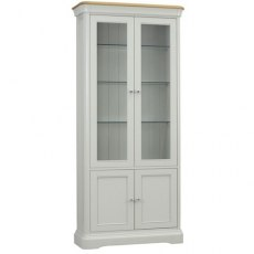 Cromwell Dining Express Glassed Bookcase in Haze/Natural Stone