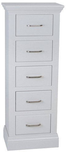 Coelo Bedroom With Painted Tops 5 Drawer Narrow Chest