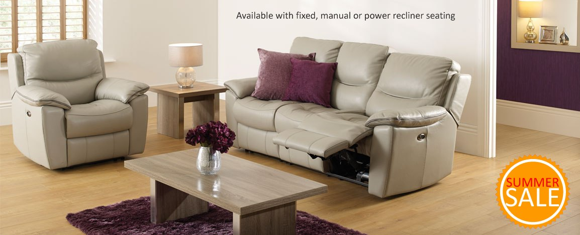 Capri 3 Seater Power Recliner Leather Sofa    Was £2089   NOW £1499