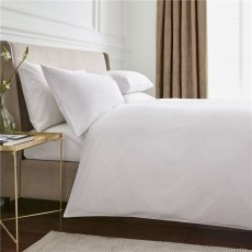 Peacock Blue Hotel Plain White Duvet Cover - Super King