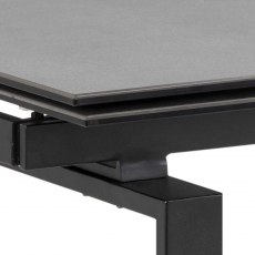 Huddersfield Huddersfield Dining Table 120/200cm Black Ceramic & 4 Batilda Chairs Dark Grey