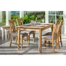 Stag New England Dining - Oak 135 Fixed Table & 4 Vermont Fabric Chairs