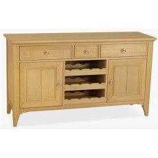 Stag New England Dining - Oak Wide Sideboard with Wine Rack