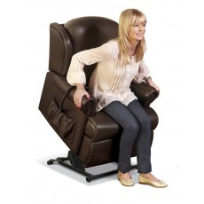 Malvern Leather Petite Electric Lift Recliner - Dual Motor