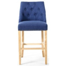 Occasional Chairs Sapphire Blue Linen Effect Bar Chair