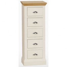 Coelo Bedroom Premier 5 Drawer Chest in Lacq/Oyster White