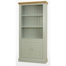 Coelo Dining Premier 2 Door Bookcase in Lacq/Oyster White