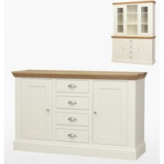 Coelo Dining Premier 4 Drawer 2 Door Sideboard in Lacq/Oyster White