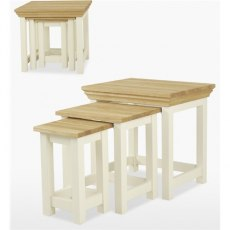Coelo Dining Premier Nest of Tables in Lacq/Oyster White
