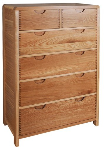 Bosco Bedroom 6 Drawer Tall Wide Chest